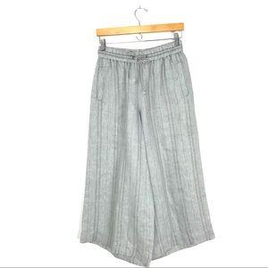 Poetry 100% Linen Culottes Wide Leg Pants Gray B2
